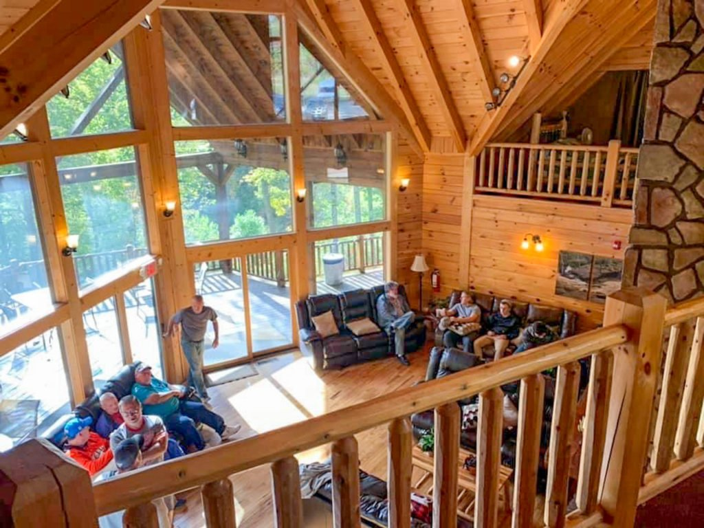 group of men at cabin in hocking hills cabin